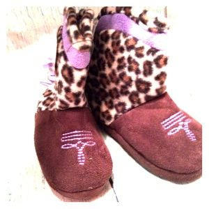 Other - Cheetah Cowgirl Boot Slippers w/ Purple Fringe